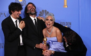 76th Golden Globe Awards - Photo Room - Beverly Hills, California, US, Jan 6, 2019 - (From L) Anthony Rossomando, Andrew Wyatt, Lady Gaga and Mark Ronson pose backstage with their Best Original Song Motion Picture award for