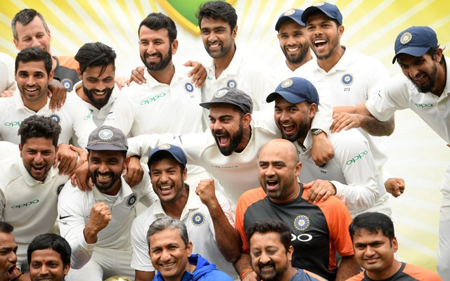 The Indian team celebrates a 2-1 series victory over Australia following play being abandoned on day five in the fourth test match between Australia and India at the SCG in Sydney, Australia, Jan 7, 2019. REUTERS
