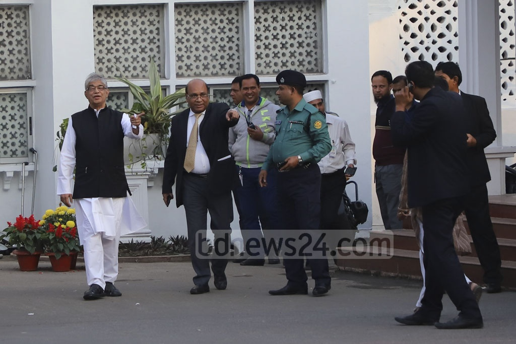 IT entrepreneur Mustafa Jabbar leaving the Bangabhaban after taking oath as the technocrat minister of post, telecom and IT on Monday. Photo: Abdullah Al Momin