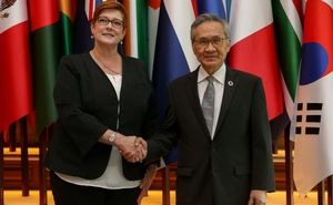 Australia's Foreign Minister Marise Payne shakes hand with her Thai counterpart Don Pramudwinai at the Ministry of Foreign Affairs in Bangkok, Thailand, Jan 10, 2019. REUTERS