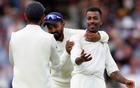 India's Hardik Pandya celebrates with team mates after taking the wicket of England's Stuart Broad. England v India - Third Test - Trent Bridge, Nottingham, Britain - August 19, 2018. Action Images via Reuters/Paul Childs