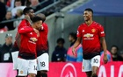 Manchester United's Marcus Rashford celebrates scoring their first goal with Jesse Lingard and team mates. Football - Premier League - Tottenham Hotspur v Manchester United - Wembley Stadium, London, Britain - January 13, 2019. Reuters