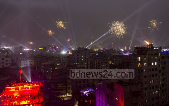 Residents of Old Dhaka celebrating Sakrain with fireworks and by flying kites on the last day of Poush, the first month of winter in Bangla calendar, on Monday. Photo: Mostafigur Rahman