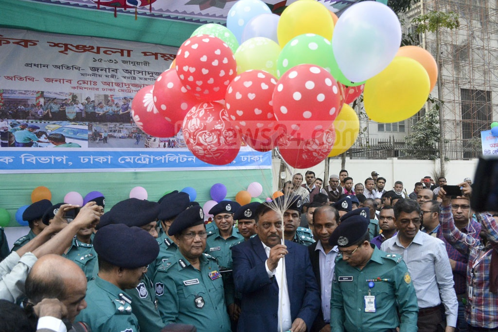 Home Minister Asaduzzaman Khan Kamal inaugurating the fortnightly traffic discipline programme at Zero Point in Dhaka's Gulistan on Tuesday.