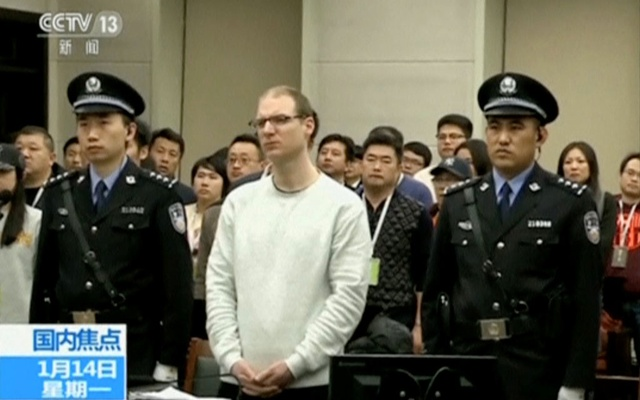 A still image taken from CCTV video shows Canadian Robert Lloyd Schellenberg in court, where he was sentenced with a death penalty for drug smuggling, in Dalian, Liaoning province, China Jan 14, 2019. REUTERS