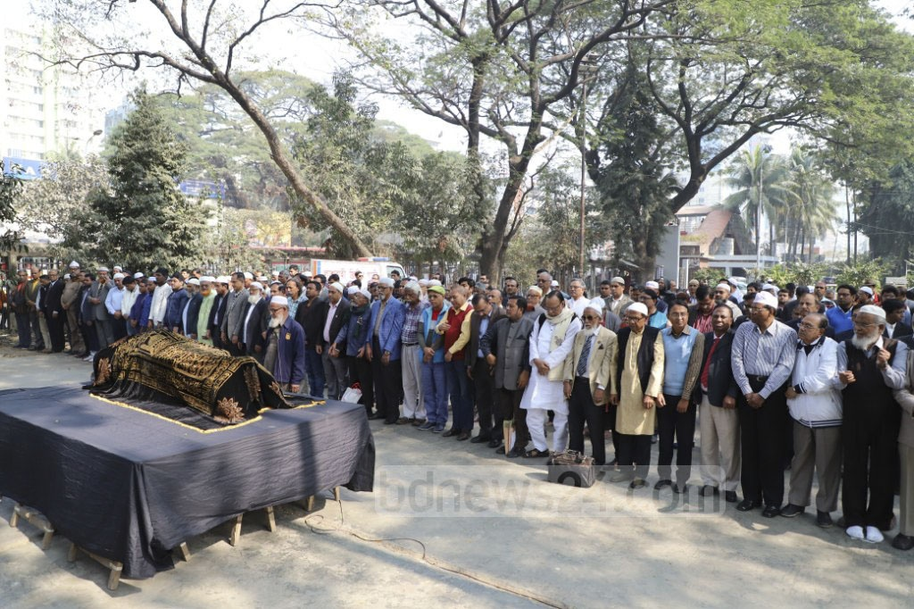 The Namaz-e-Janaza of bdnews24.com's Senior Editor Amanullah Kabir is being held at the National Press Club. Photo: Abdullah Al Momin