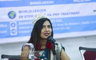 Priota Farelin Iftekhar, who was crowned the first-ever Miss Culture Worldwide in Zimbabwe in December last year, speaking at a news conference in Dhaka on Wednesday. Photo: Mahmud Zaman Ovi