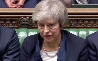 Prime Minister Theresa May sits down in Parliament after the vote on her Brexit deal, in London, Britain, January 15, 2019 in this screengrab taken from video. Reuters TV via REUTERS