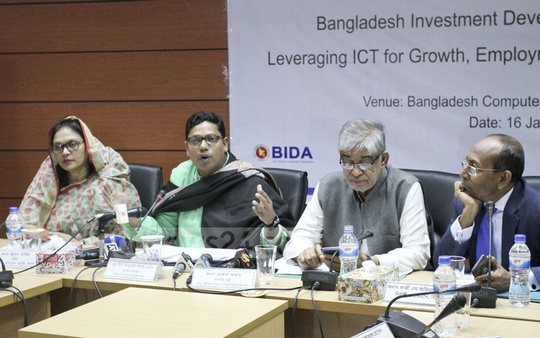 State Minister for ICT Zunaid Ahmed Palak speaking at an event organised in Dhaka on Wednesday to mark the signing of an MoU between Bangladesh Investment Development Authority and Leveraging ICT for Growth, Employment, and Governance Project to ensure quick service for ICT sector investors. Photo: Asif Mahmud Ove