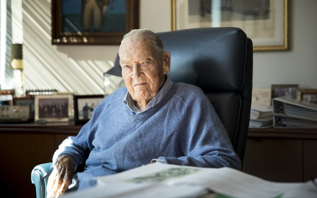 John Bogle, founder of the investments giant Vanguard, at his office in Malvern, Pa, Sep 28, 2017. Bogle built Vanguard into the world's second-largest mutual fund company by popularising the idea of indexing investments to mirror the performance of broad market averages. He died on Jan. 16, 2019 in Bryn Mawr, Pa, at age 89. The New York Times