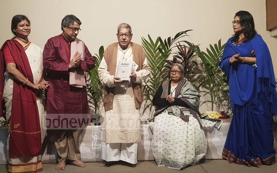National Professor Anisuzzaman attended the launch of Sanjida Khatun's book 'Gitabitan: Tothyo O Bhabsondhan' at the Chhayanaut Bhaban in Dhaka on Thursday.