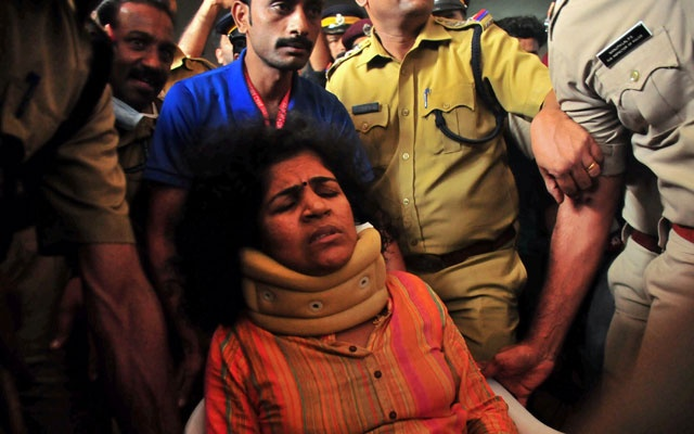 Kanaka Durga, 39, one of two Indian women to enter Sabarimala temple which traditionally bans the entry of women of menstrual age, is seen at a hospital in Manjeri town in the southern state of Kerala, India, Jan 15, 2019. REUTERS
