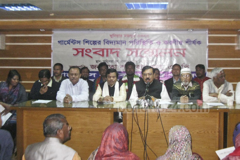 Awami League leader and former shipping minister Shajahan Khan talks about the apparel sector during a media briefing organised by Garment Sramik Samannay Parishad at Dhaka Reporters' Unity on Thursday.