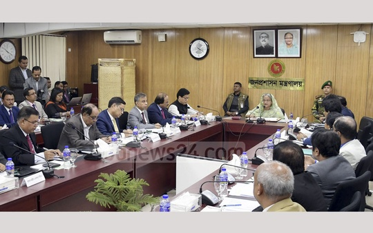 After returning to power for a third straight term, Prime Minister Sheikh Hasina holds her first meeting with officials of the public administration ministry at the Bangladesh secretariat on Thursday. Photo: PID
