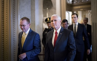 US_NKOREA: FILE-- Vice President Mike Pence, Mick Mulvaney, left, the Trump administration's budget director, and Jared Kushner cross from the Senate to the House side of the Capitol during negotiations to avert a potential government shutdown, in Washington, Dec 21, 2018. Pence told American ambassadors on Jan 16, 2019, that North Korea has failed to take any substantive steps to give up its nuclear weapons, even as President Donald Trump is moving toward a second meeting with Kim Jong-un, the North Korean leader. (Erin Schaff/The New York Times)
