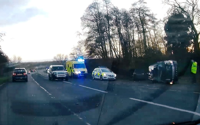 A view of the scene of car crash involving Prince Philip on A149 in Sandringham, Norfolk, Britain Jan 17, 2019 in this image obtained from a social media video on Jan 18, 2019. REUTERS