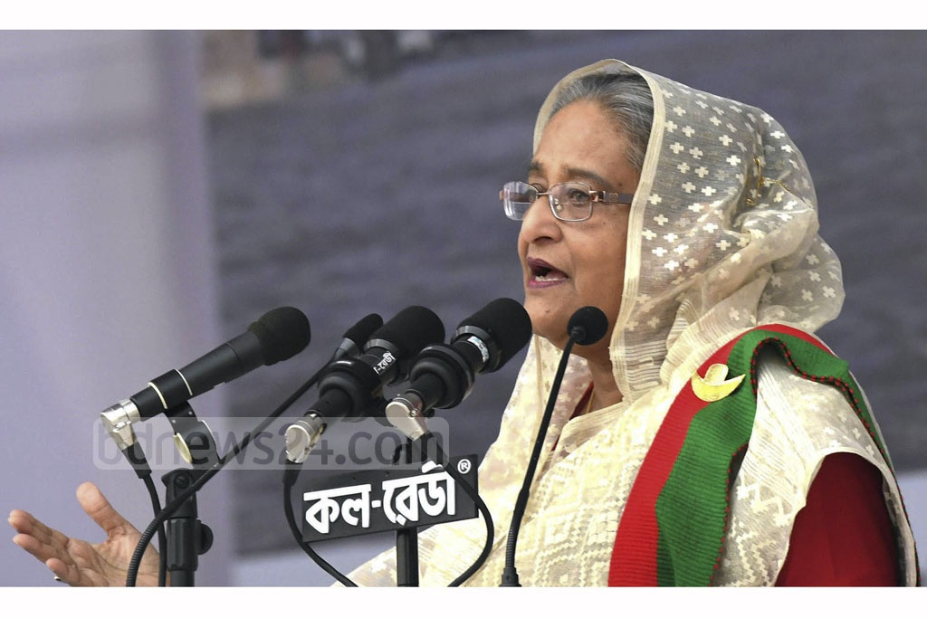 Prime Minister Sheikh Hasina attends the Awami League's celebration of its landslide victory in the 11th national parliamentary elections at the Suhrawardy Udyan on Saturday. Photo: PID