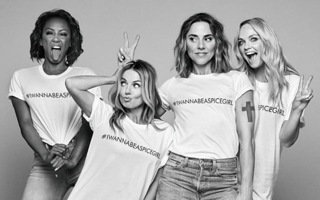 Members of the Spice Girls wearing #IWannaBeASpiceGirl T-shirts. Photo courtesy of Comic Relief via the Guardian