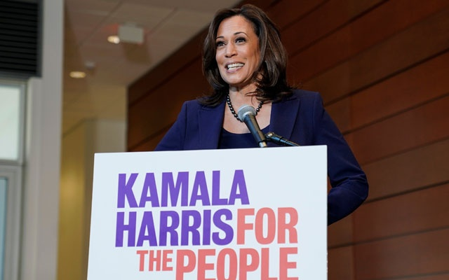 Senator Kamala Harris (D-CA) speaks to the media after announcing she will run for president of the United States at Howard University in Washington, US, January 21, 2019. Reuters