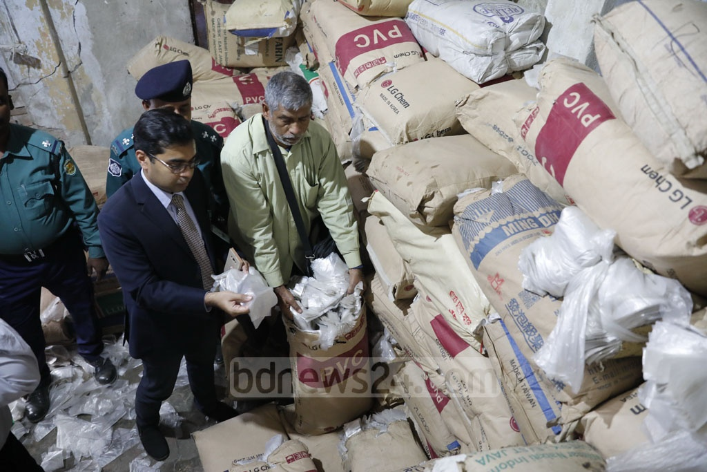 The Department of Environment raided an illegal polythene bag factory in Dhaka's Chawkbazar on Wednesday.