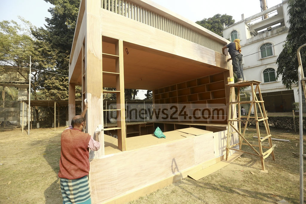 Dhaka's Bangla Academy and Suhrawardy Udyan are being prepared for hosting the Amar Ekushey Book Fair, less than a week away.