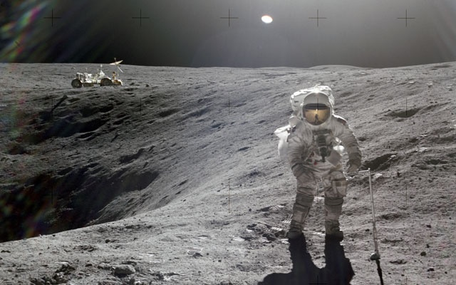 A photo provided by the Johnson Space Center and NASA shows astronaut Charles M Duke Jr, the lunar module pilot on the Apollo 16 mission, near Plum Crater on the moon in 1972. (JSC/NASA via The New York Times)