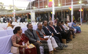 (From left to right) English Department Alumni Society President Rasheda K Choudhury, former general secretary Toufique Imrose Khalidi, theatre activist Ramendu Majumdar and former senior secretary to the government Hedayetullah Al Mamoon among others at the annual reunion of the former students of the Dhaka University on Friday.