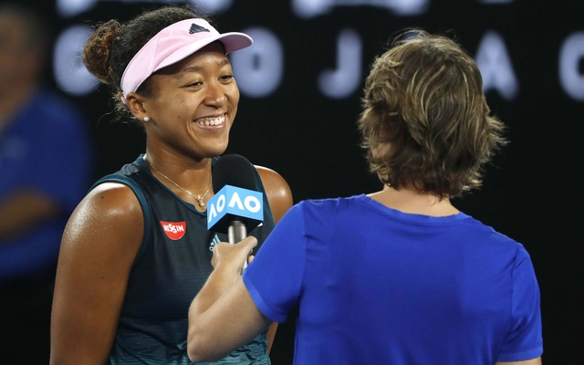 Japan's Naomi Osaka reacts during na interview after winning the match against Czech Republic's Karolina Pliskova. Tennis - Australian Open - Semi-final - Melbourne Park, Melbourne, Australia, January 24, 2019. Reuters