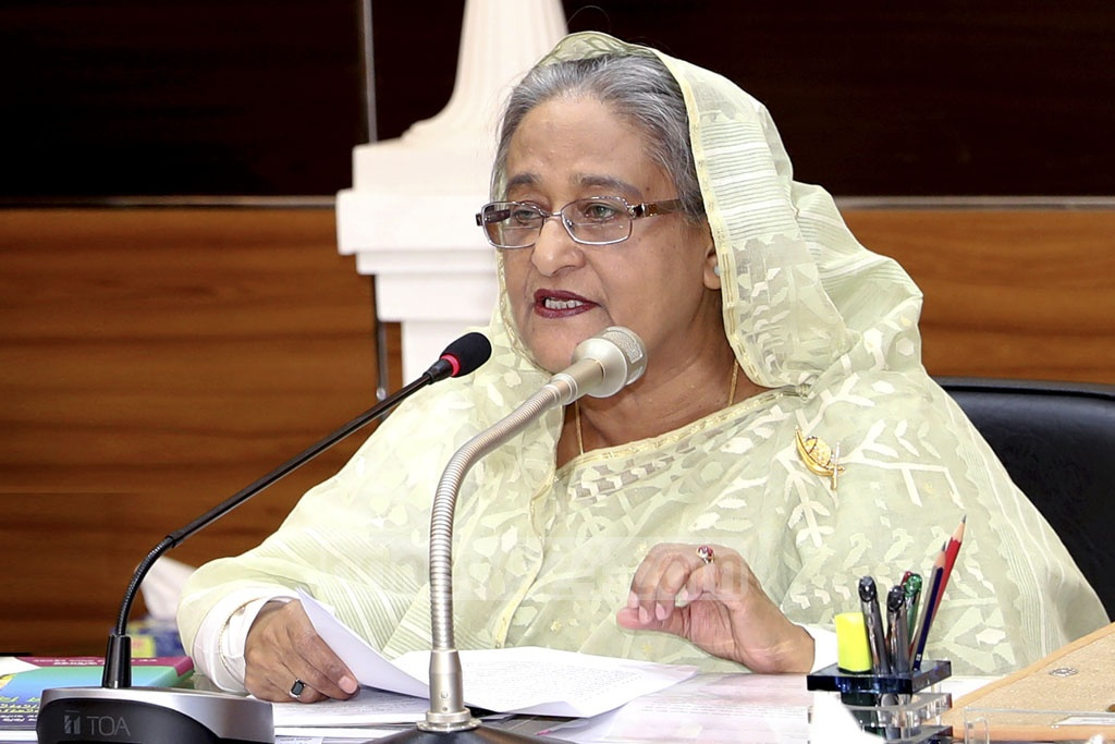 Prime Minister Sheikh Hasina visits the Ministry of Health and Family Welfare on Sunday and addresses senior ministry officials in a speech. Photo: Saiful Islam Kallol