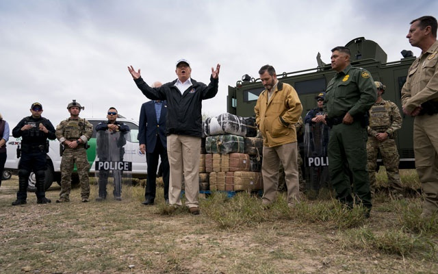 File - President Donald Trump gestures while speaking as he and Sen. Ted Cruz (R-Texas), centre right, visit the Rio Grande in McAllen, Texas, on Thursday, Jan 10, 2019. Questions about whether the president is a Russian agent made clear that the government shutdown may be just the initial skirmish in an all-out battle between him and Congress. (Doug Mills/The New York Times)