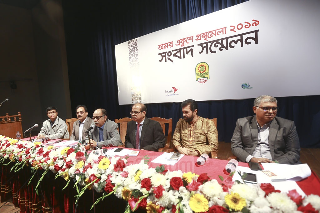 Habibullah Sirajee, director general of Bangla Academy, speaks at a news briefing on Thursday, a day before the month-long Ekushey book fair. Photo: Mahmud Zaman Ovi