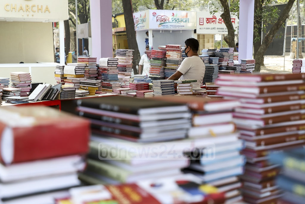 The Ekushey Book Fair, a fair close to the hearts of Bangalees, is just a day away. All stalls are being decked up with books. Photo: Abdullah Al Momin