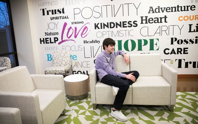 Danny Reagan, a former residential patient of the Lindner Center of Hope, sits in a common room at the center in Mason, Ohio, US, January 23, 2019. Reuters