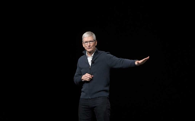 Tim Cook, chief executive of Apple, talks during the company's event at the Brooklyn Academy of Music in New York, Oct. 30, 2018. (Erica Yoon/The New York Times)