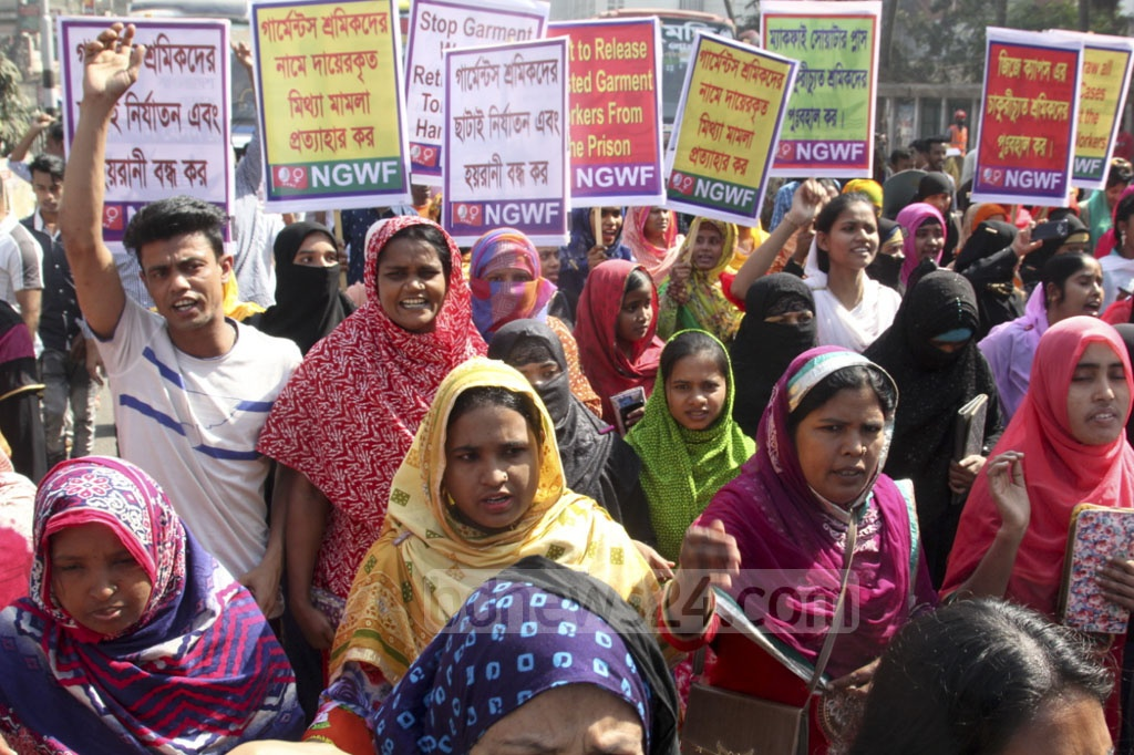 National Garments Workers Federation takes out a procession on Friday to push for the release of workers detained during recent protests and other demands.