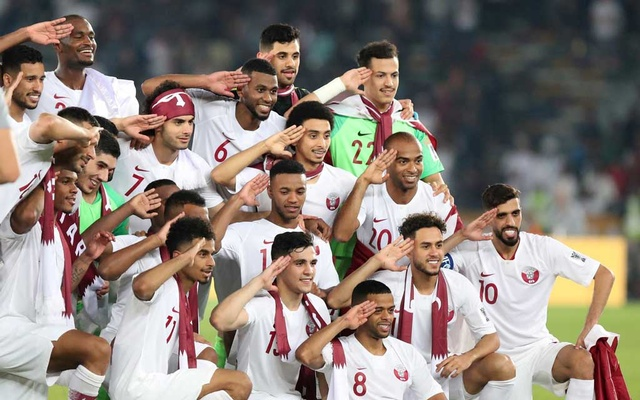 Qatar celebrate winning the Asian Cup with the trophy. Football - AFC Asian Cup - Final - Japan v Qatar - Zayed Sports City Stadium, Abu Dhabi, United Arab Emirates - February 1, 2019. Reuters
