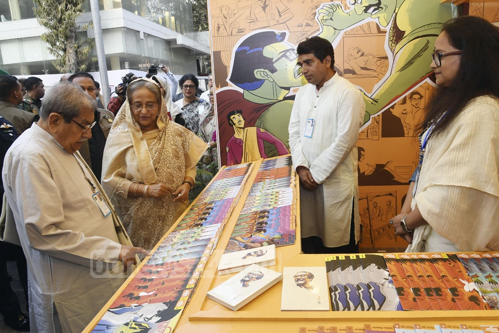Prime Minister Sheikh Hasina visits book stalls after inaugurating the month-long Amar Ekushey Book Fair at Dhaka's Bangla Academy on Friday. Photo: PID