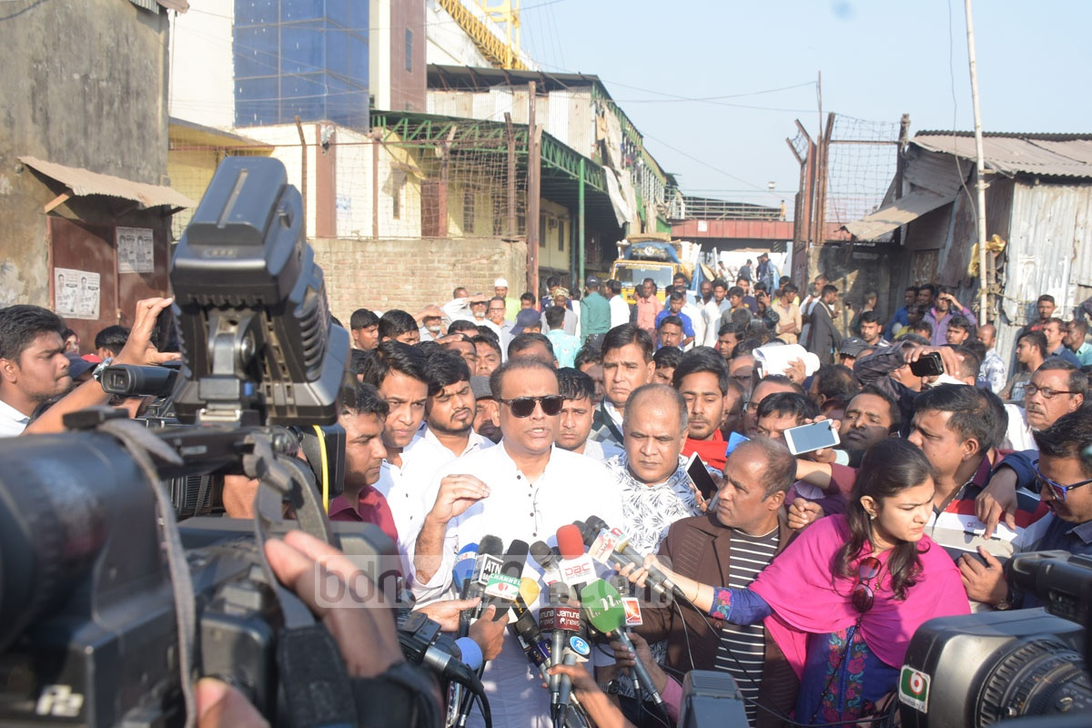 Land Minister Saifuzzaman Chowdhury announces that a drive to remove illegal structures along the river Karnaphuli will begin Monday after visiting the area in Chattogram on Saturday. Photo: Suman Babu