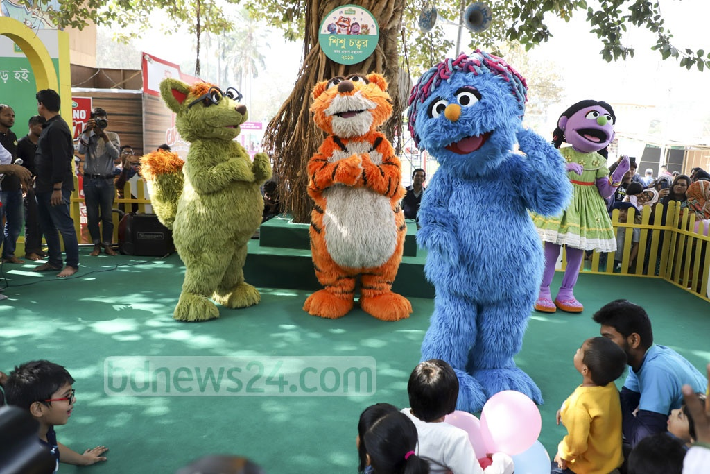 Characters from television show 'Sisimpur' attract young visitors during Children's Hour at the Amar Ekushey Book Fair on Saturday. Photo: Abdullah Al Momin