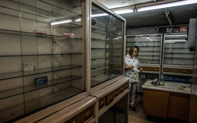 Silvia Limardo fetches a syringe for a customer at her family's pharmacy in downtown Caracas on Jan 27, 2017. The New York Times