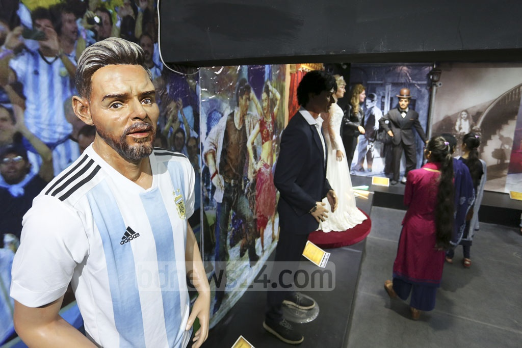 This sculpture of footballer Lionel Messi by artist Mrinal Haque has drawn criticism. Photo: Abdul Mannan Dipto