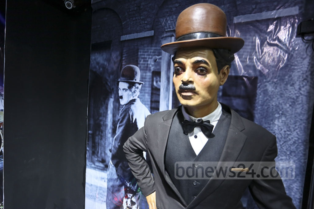A model of legendary actor Charlie Chaplin at Mrinal Haque's Celebrity Gallery in Dhaka's Gulshan. Photo: Abdul Mannan Dipto