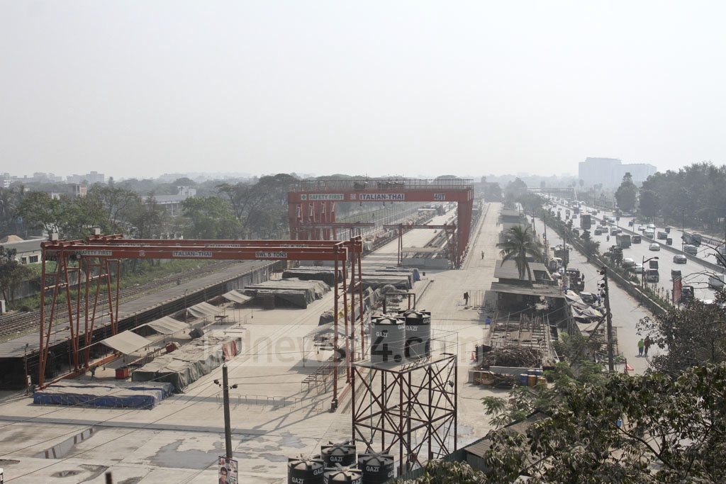A precast yard for the elevated expressway in front of Dhaka's Shahjalal airport. Photo: Asif Mahmud Ove