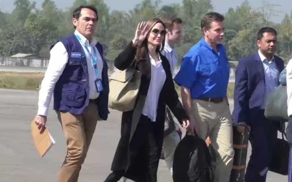 Top Hollywood actress Angelina Jolie arrived in Cox's Bazar to visit the Rohingya refugee camps as a special envoy for the UN Refugee Agency, UNHCR.