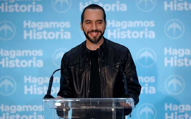 Presidential candidate Nayib Bukele of the Great National Alliance (GANA) speaks during a news conference after the presidential election in San Salvador, El Salvador, Feb 3, 2019. REUTERS/Jose Cabezas