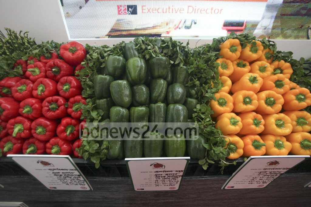 Products are on display at a stall at a food exhibition marking the National Food Safety Day at the Krishibid Institute in Dhaka on Monday.