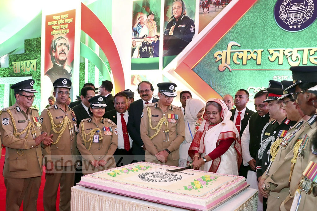 Prime Minister Sheikh Hasina inaugurating the Police Week 2019 at the Rajarbagh Police Lines in Dhaka on Monday. Photo: Saiful Islam Kallol