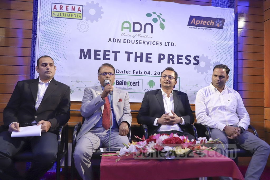 ADN EduServices Managing Director Tapan Kanti Sarkar briefing the media at the Dhanmondi Club in Dhaka Monday on how the group works on empowering new business affiliations to create a trustworthy platform for their partners and customers. Photo: Abdullah Al Momin