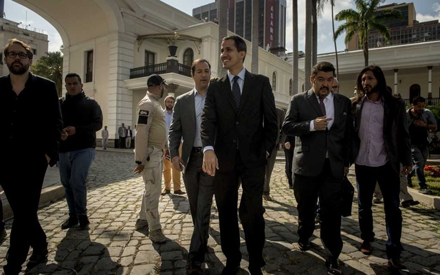 Juan Guaidó, the Venezuelan opposition leader, arrives to a session of the National Assembly, in Caracas, Jan 29. The New York Times
