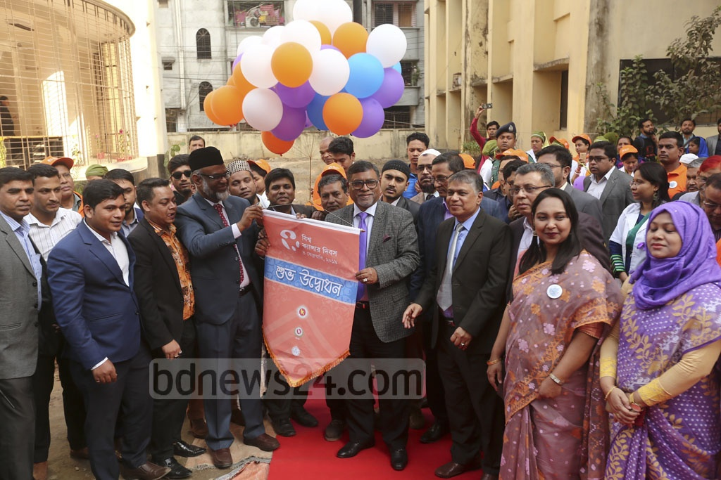 Health Minister Zahid Maleque inaugurating the World Cancer Day observations at the National Institute of Cancer Research and Hospital in Dhaka on Monday. Photo: Mahmud Zaman Ovi